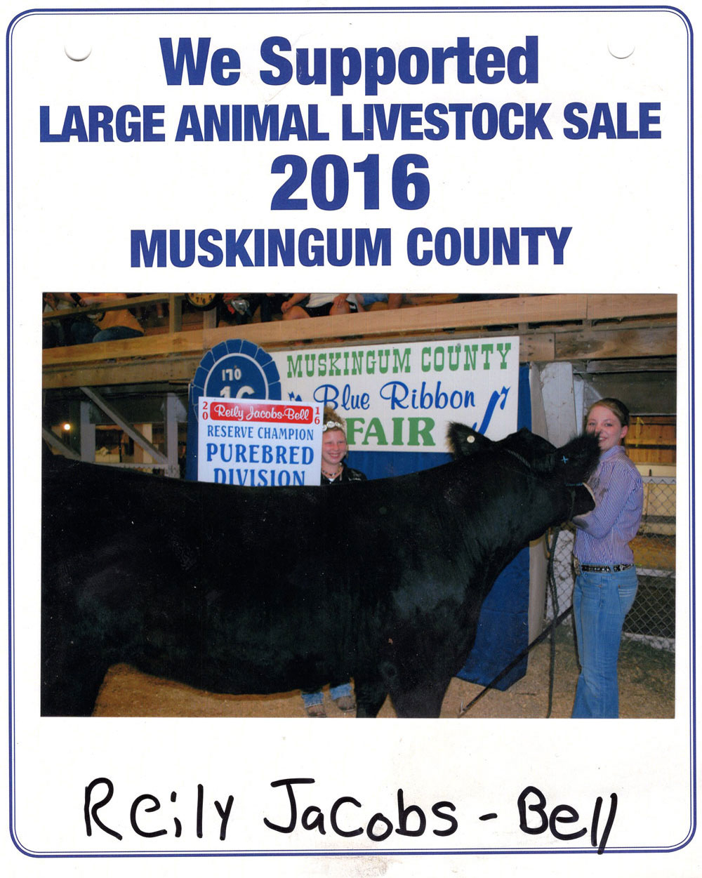 Zemba Bros Community Support Muskingum County Fair Live Stock Auction 2